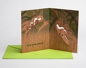 """3 pop up cards wood with envelope - """"see you soon"""" cards"""