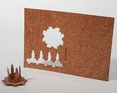 postcard wood - adventwreath 3 cards