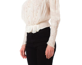 Victorian Gimbel Brothers Handmade Lace Cotton High Neck White Blouse SIZE: S, 4-6