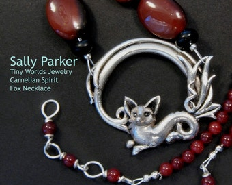 Silver and Carnelian Spirit Fox Necklace