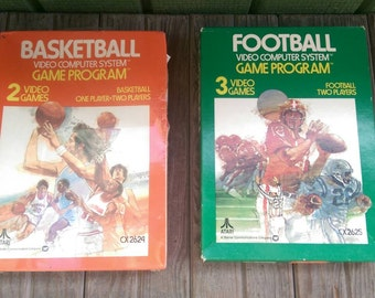 Two Vintage Atari 2600 Video Game Programs Catridges Basketball CX 2624 and Football CX 2625
