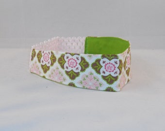 Pretty Pink and Green Patterned Headband