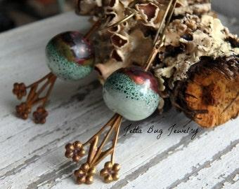 Sea Foam- artisan turquoise  bottle green enamal beads. vintage brass flower spray. unique floral boho earrings. Jettabugjewelry
