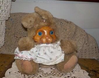 Bunny Rabbit Appause Inc 1988  Robert Raikes, Appause Bunny , Wooden Face Bunny, Appause Rabbit, Wooden Face Rabbit, Stuffed Toy Bunny :)s