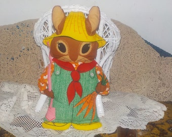 Bunny, Stuffed Bunny, Rabbit, Cut N Sew Fabric, Vintage Stuffed Bunny, Vintage Stuffed Rabbit,