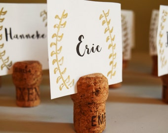 Champagne Cork Place Card Holder or Place Setter, Champagne Cork Name Badge, Champagne Name Card Holder, Top Slit