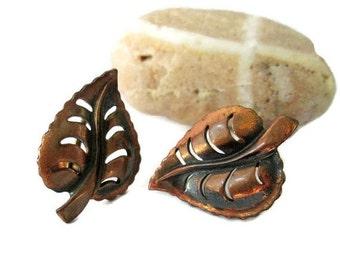 ON SALE Copper Leaf Motif Vintage Earrings, Retro Screw Back , MCM 1950s Woodland