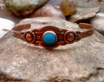 Southwestern Copper Turquoise Cuff Bracelet, Childs Girls Copper Bracelet, Vintage Copper Jewelry