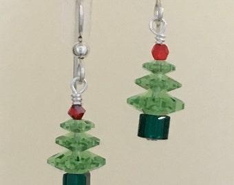 Peridot Swarovski Crystal Christmas Tree Earrings
