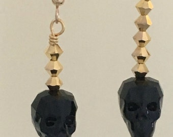Swarovski Crystal Skull Earrings