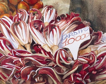 Late crop of red chicory, Watercolour Giclée print