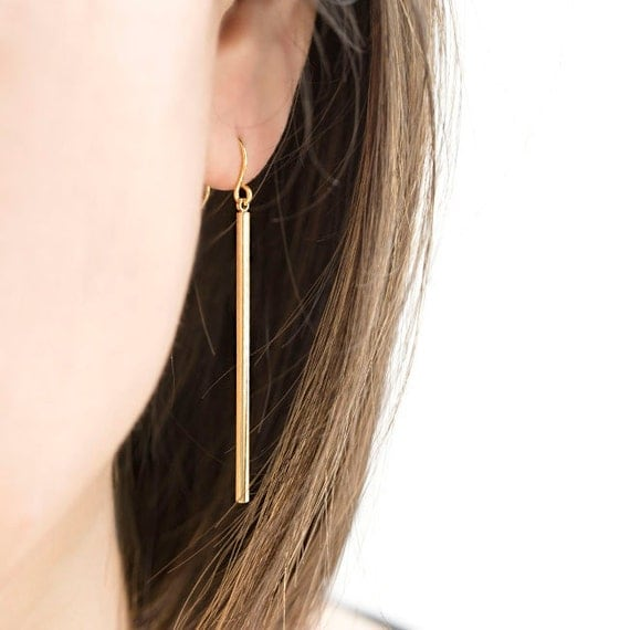 Long Skinny Slim Straight Vertical Bar Earrings Gold