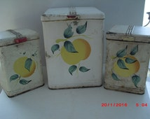 shabby Art Deco kitchen canister set
