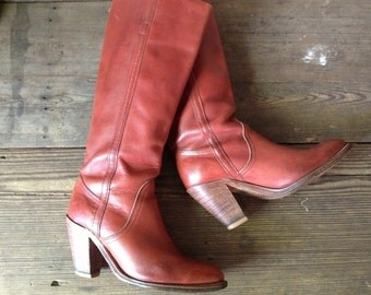 Frye Leather Riding Boots, Rust Brown Size 6,5 US High Heels