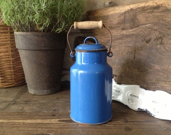 French Blue Enamel Pot Can Lidded with Wood Handle French Farmhouse Chippy Shabby Chic