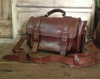 Leather Satchel Briefcase Handbag Rustic Crossbody Artisan Rustic Dark Brown