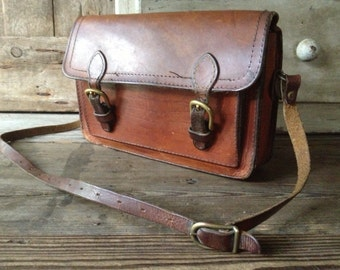 Brown Leather Saddlebag Mini Briefcase Satchel Messenger Handbag