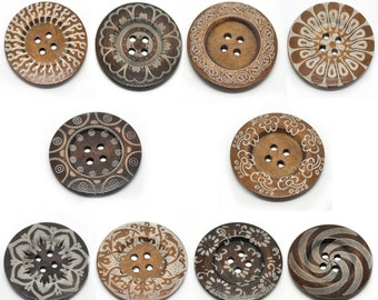 20 Extra Large Wooden Buttons - Variety - 2 3/8 inch - 6cm - Wood Buttons - Decorative 19223