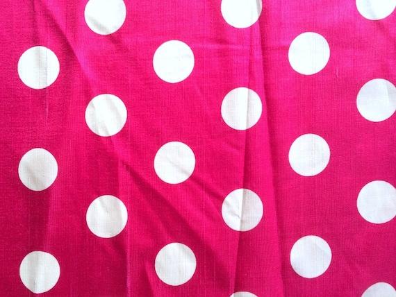 vintage 50s hot pink polka dot silk fabric large scale big. Black Bedroom Furniture Sets. Home Design Ideas