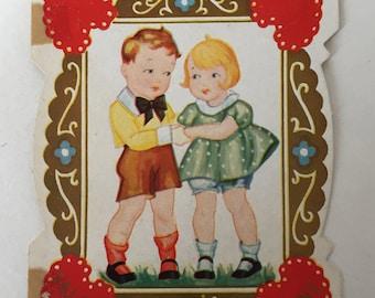 Valentine Card / Vintage Valentine Card Boy & Girl Used Good condition