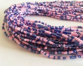 Pink & Blue Handmade African Waist Bead *per one strand*