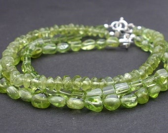 Natutral Gemstone Peridot 925 Sterling Silver Minialist Bracelet In Assorted Shapes - Choose Your Own Style, Stacking Peridot Bracelet