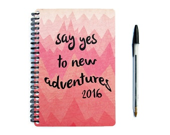 2016 2017 Planner - Say Yes To New Adventures - Daily Student Agenda Weekly College Motivational Pink Travel Chevron