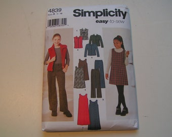Simplicity Pattern 4839 easy to sew Girl Jacket or Vest Pants and Jumper