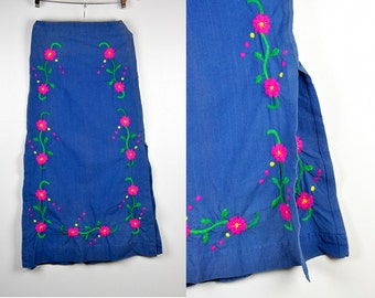 Maxi Skirt Embroidered Skirt Floral Skirt Mexican Skirt Oaxacan Long Side Slits High Waisted Skirt Boho Hippie Gypsy Festival size XS - S