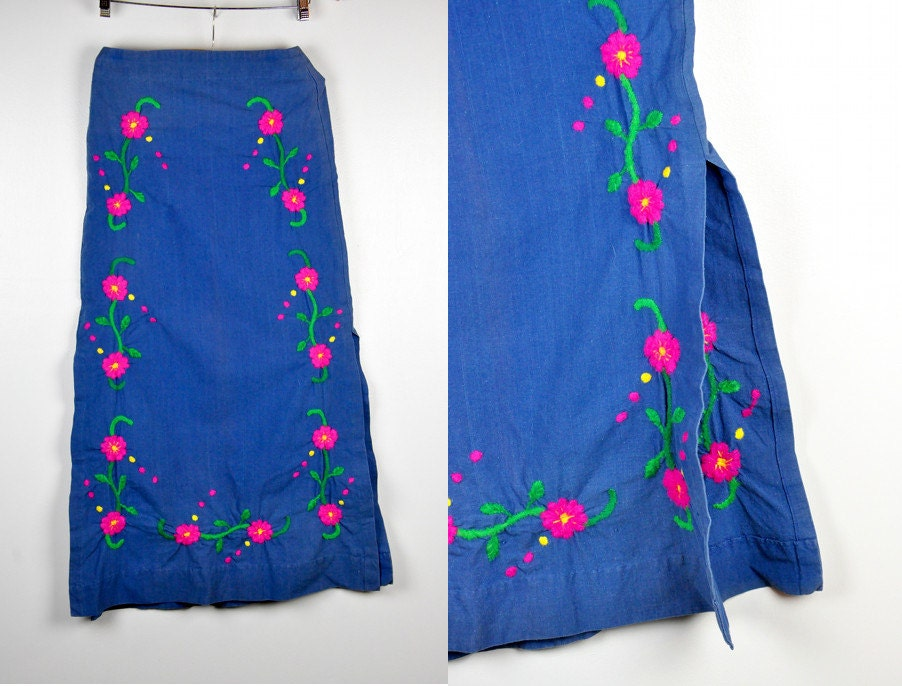 Maxi skirt embroidered floral mexican