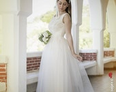 50s Wedding Dress, Tea Length Bridal Gown,Ivory Wedding Dress,50s Wedding Gown,Lace Wedding Dress,Tea Length Wedding Dress,Tulle Short Dress