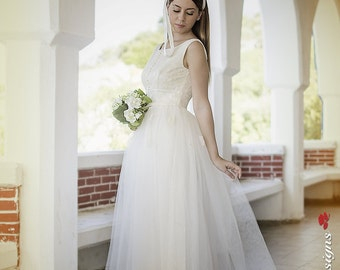 50s Wedding Dress, Tea Length Bridal Gown,Ivory Wedding Dress,50s Wedding Gown,Lace Wedding Dress,Tea Length Wedding Dress,Tulle Short Dress