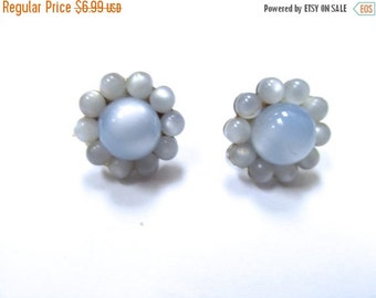 On Sale Vintage Baby Blue Moon Beam Lucite Earrings Item K # 514