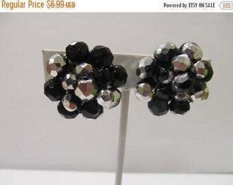 ON SALE Vintage Black and Silver Beaded Cluster Earrings Item K # 3138