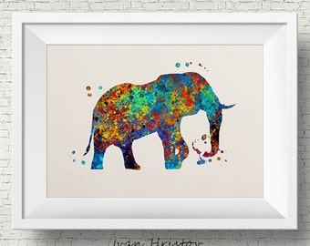 Abstract Colorful Elephant Art Print Watercolor Art Print Colorful Home Decor Wall Art Giclee