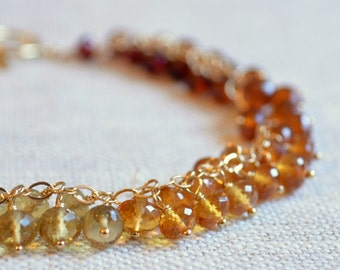 Gemstone Bracelet, Bridal Jewelry, Autumn Wedding, Fall Colors, Gold or Sterling Silver Jewelry - Fall Cluster - Free Shipping