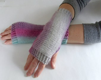 Knit Fingerless Gloves Multi Colored Wool Gloves