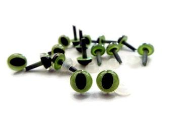7.5mm Cat Eyes Safety Eyes Plastic Eyes Animal Eyes Toy Eyes --Green--10 pairs