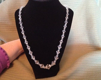 Vintage Clear Glass Beaded Beaded with Sterling Silver  Necklace, Length 31''