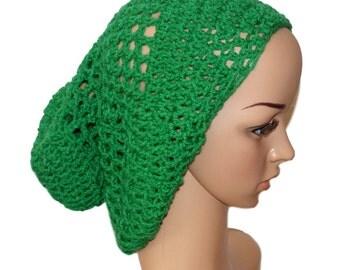 Green Slouch Hat, Green Slouchy Cap, Green Slouchy Hat, Green Christmas Hat, Mens Crochet Hat, School Hat, Urban Trend, Green Beanie