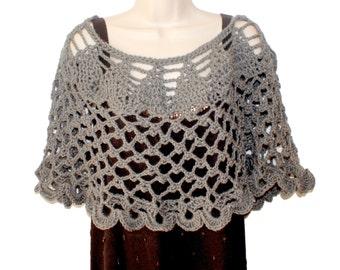 Womens Shawl, Crochet Capelet, Woman Poncho, Gray Poncho, Trendy Shawl, Womens Capelet, Gray Shawl, Wedding Capelet, Shoulder Warmer