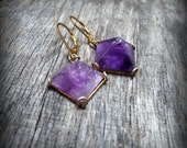 Vintage Amethyst Pyramid Earrings Gold Filled leverbacks