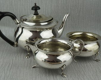 Very Worn Silver Plated Tea Set Pot Teapot Sugar Bowl and Jug Yeoman Plate English Made