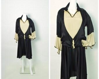 Vintage 1920s 20s Silk Dress Black and Cream Art Deco