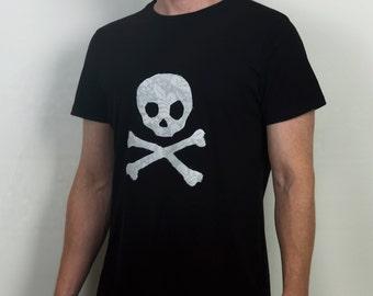 Industrial fashion lace skull applique mens organic cotton t shirt
