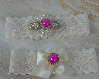 Wedding Garter Set - Hot Pink  Garter- Pearl and Rhinestone Garter Set -Ivory Lace Garters