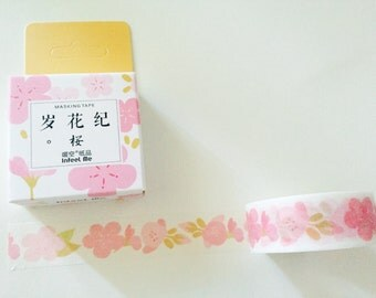Pink Cherry Blossoms Boxed Washi Tape