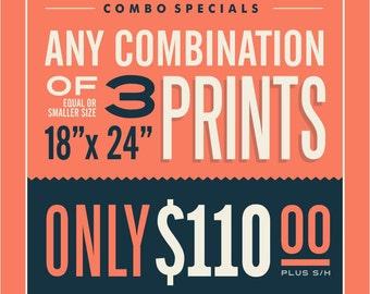 "3 - 18"" x 24"" Prints Combination"