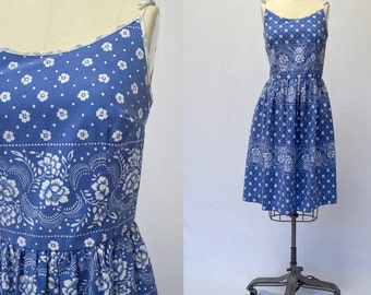 Blue and White Floral Bandana Print 50s Inspired Summer Dress