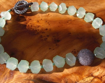 Jade, crystals, and sterling silver necklace.